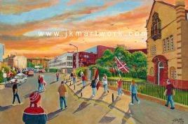 Hand Painted original of NEW TYNECASTLE  going to the match (2)